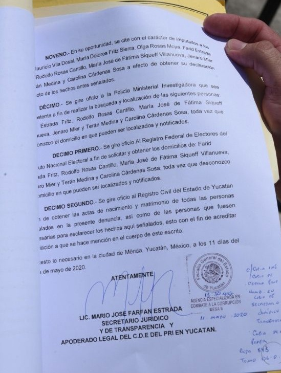 acta de denuncia Mauricio Vila