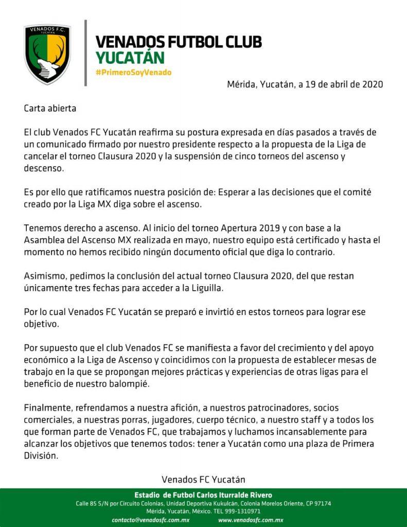 carta venados de yucatan
