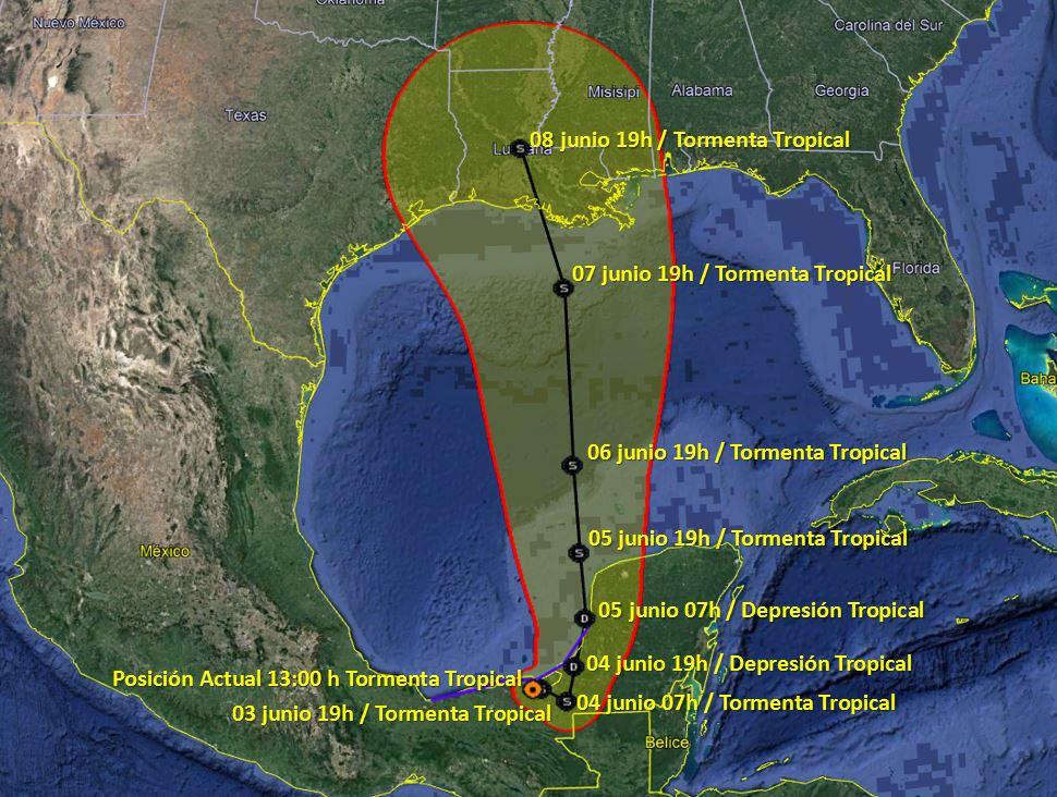 Tormenta Tropical Cristóbal Desplazamiento